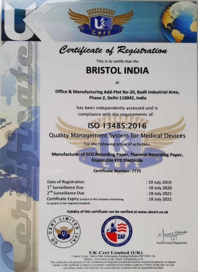 Bristol India Certificate ISO 13485_2016